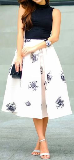 #spring #outfits Black Tank + White Floral Flare Skirt