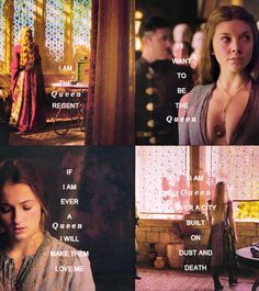 These quotes all symbolize their own personalities. Cersei Lannister is constantly trying to prove that she is fit to rule, Margaery Tyrell will do anything to sit the iron throne, Sansa Stark just wants peace and to rule the people justly after so much war and death, and Daenerys Targaryen, with all her fire, is the instigator of war and death.