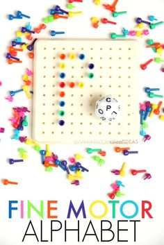 This fine motor peg board activity incorporates eye-hand coordination and tripod grasp to manipulate pegs in order to build letter formation skills, and using a dice, which adds a power in-hand manipulation component to the activity...with a bit of fun mixed in.