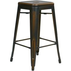 OSP Designs Bristow 26 inch Antique Metal Barstool, Antique Copper Finish, 4-Pack, Brown