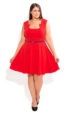 City Chic - STUD BELT SKATER DRESS - Women's plus size fashion