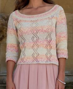 Free Knitting Pattern for Scoop Neck Lace Pullover - Sirdar Toscana DK 7977 features diamond lace pattern on the body and the sleeves. Options for three quarter and short sleeves. To fit: 32/34 36/38 40/42 44/46 48/50 52/54 inches