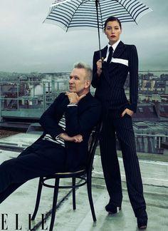 Actress/Designer: Jessica Biel and Jean Paul Gaultier.  Issue: ELLE US | January 2013.   Photographer: Thomas Whiteside  http://elle.com