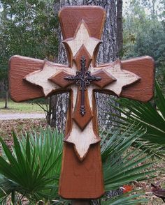 PC001 Rustic Brown and White Stacked Wooden Cross by DiaMorDecor, $85.00