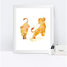 The Lion King Art Print, Lion King Watercolor, Disney Poster, Simba,... (€3,10) ❤ liked on Polyvore featuring home, home decor, wall art, printable wall art, disney posters, watercolor poster, disney and lion poster