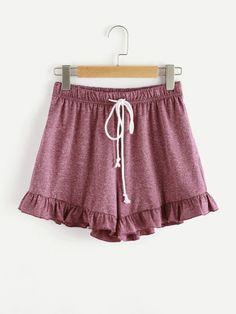 Marled Knit Drawstring Waist Frilled Sweat Shorts