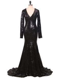 Mermaid Prom Dresses Long Sleeves Sequins Evening Gowns for Women Formal E122 ** Want to know more, click on the image. (This is an affiliate link and I receive a commission for the sales)