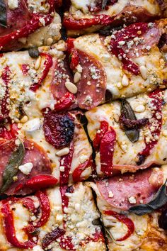 Sun-Dried Tomato and Olive Pesto Pizza with Salami + Roasted Red ...
