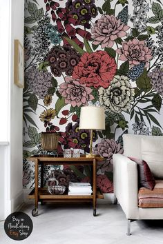 Autumn flowers wall mural,  Beauty floral wallpaper,  Removable wallpaper,  Wall covering,  Wall sticker  #59 by floralCOLORAY on Etsy https://www.etsy.com/listing/490489555/autumn-flowers-wall-mural-beauty-floral