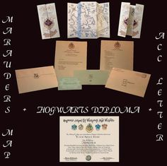 Hogwarts Acceptance Letter, Marauders Map, + Diploma