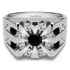 14k White Gold Round Channel Set Sun Burst Style Men's Ring With Black And White Diamonds(2.98 Cts., black, I1-I2) (14k White Gold, Size 12) (solid)