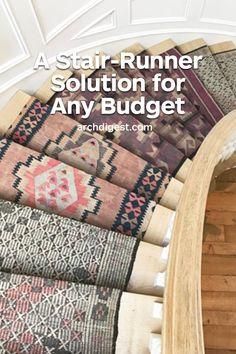 Yes, it involves those cute tiny rugs you have no idea what to do with—just line them up, have them sewn together, and your stair runner problem will disappear Carpet Staircase, Staircase Runner, Stair Runners, Narrow Hallway Decorating, Staircase Makeover, Painted Stairs, House Stairs, Moving House, Staircase Design