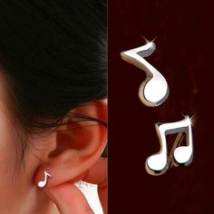 Musical Note Stud Earrings Stud earrings measure approx 8 & 9mm Metal: silver plated alloy (If viewing on another platform, more info found at emariesjewelry.com)