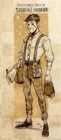 "Steampunk version of Tadashi from ""Big Hero 6"" - Art by garlicableningen.tumblr.com"