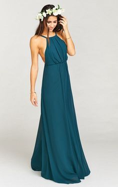 5c61fa78aca2 Amanda Maxi Dress ~ Deep Jade Chiffon Jade Bridesmaid Dresses, Bohemian  Bridesmaid, Brides And