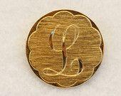 Script Letter L Initial Brooch - Gold Tone Monogram Vintage Letter.