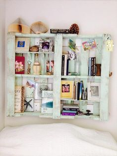 Wooden Pallet Headboard with Bookshelves   Pallet Furniture DIY