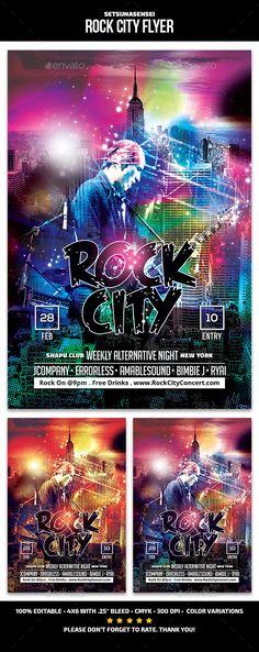 Rock City Flyer Template PSD. Download here: http://graphicriver.net/item/rock-city-flyer/15659282?ref=ksioks