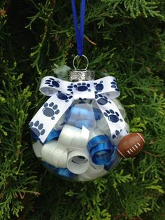 Handmade Penn State Christmas Ornament with Football Charm. Make it in school colors.