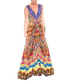 Look at this #zulilyfind! Parides  Red & Blue Heritage Silk-Blend Maxi Dress by Parides  #zulilyfinds