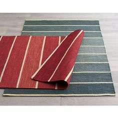 Bold Blue Striped Wool-Blend Dhurrie Rug   Crate and Barrel