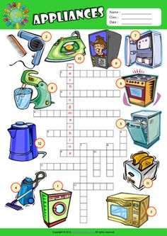 Appliances Crossword Puzzle ESL Vocabulary Worksheet