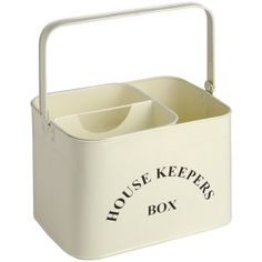 Housekeepers Box £36.50 www.prettymaison.co.uk #Housekeeping #CreamMetal Utility Cupboard, Bread Boxes, Cleaning Materials, Shop Interiors, Powder Coating, Interior Accessories, Vintage Kitchen, Housekeeping, Life Hacks