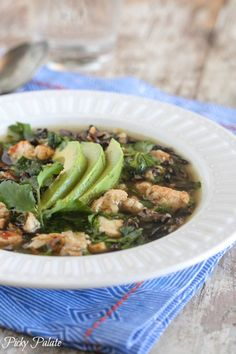 Salsa Verde Chicken and Wild Rice Soup, simple to prepare and perfect for weeknight dinners!!