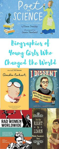 Biographies of young girls who changed the world! // Books by Written & Bound Class Library, Elementary Library, Library Books, Library Skills, Good Books, Books To Read, My Books, Book Suggestions, Book Recommendations