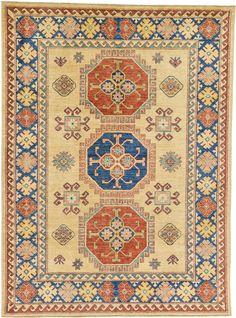 Cream 5' 10 x 7' 10 Geometric Kazak Oriental Rug | Oriental Rugs | eSaleRugs