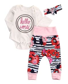 4525bc0563b3 New Style Baby Girls Clothes Sets Hello World Letter Bodysuits Tops Casual  Pants + Headhand Packet Clothes Sets Outfits