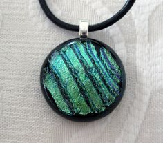 Blue and green dichroic glass pendant