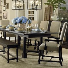 Dining Table Option Turned Post Dining Table by Bassett Furniture New Furniture, Dining Room Furniture, Dining Room Table, Dining Area, Dining Rooms, Dining Sets, Dinette Sets, Dining Room Inspiration, Upholstered Chairs