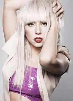 Lady Gagas long straight sexy hairstyle with bangs!