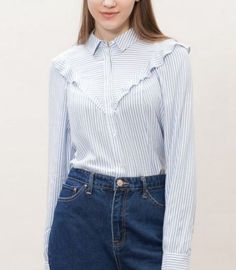 Shirt with frill trim Classy Outfits, Pretty Outfits, Vintage Outfits, Casual Outfits, Fashion Outfits, Hijab Fashion Summer, Formal Tops, Fashion Forecasting, Office Outfits