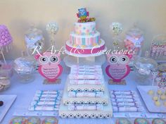 Pastel candy at a shabby chic owl birthday party! See more party ideas at CatchMyParty.com!