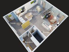 Plan 3D vue du dessus d'un appartement familial, partie jour Decoration, Desktop Screenshot, 3d, Architecture, Decor, Arquitetura, Dekoration, Decorations, Embellishments