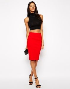 ASOS Red High Waisted Pencil Skirt