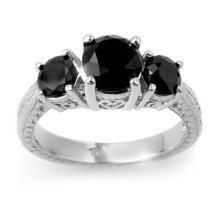 Natural 2.50 ctw Black Diamond Bridal Jewelry Ring 14K White Gold - SKU#99180 -W42A6