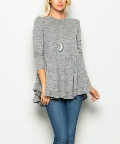 Another great find on #zulily! Charcoal Ruffle Long-Sleeve Tunic #zulilyfinds