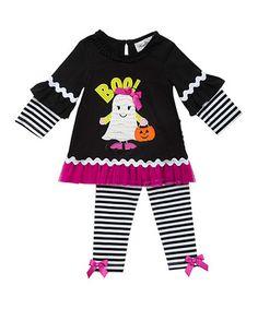 Look at this #zulilyfind! Black & Magenta Stripe Ghost Knit Tunic & White Leggings - Infant #zulilyfinds