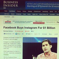 Facebook Buys Instagram For $1,000,000,000 (1 Billion) http://read.bi/HnmT5S