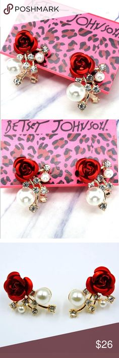 ✨Red Rose Rhinestone & Pearls Earrings✨ Beautiful Red Rose, Faux Pearls and Rhinestone Gold Tone Stud Style Earrings. Classy, Unique and Elegant. Perfect for date night or as a gift! About 1 inch in length. New, never worn. Tags attached. Bundle and save! Betsey Johnson Jewelry Earrings