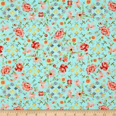 Kaufman Woodland Clearing Digital Floral Turquoise from @fabricdotcom  Designed by Liesl Gibson for Robert Kaufman, this nature inspired cotton print fabric is very lightweight, similar to a voile. It is perfect for quilting and apparel. Colors include red, grey, coral, periwinkle, green, aqua, pink and yellow.