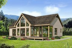 This 2 bed house plan has a vaulted covered entry and a front porch spanning the entire front of the Cabin House Plans, Cabin Floor Plans, New House Plans, Small House Plans, Retirement House Plans, Small Cottage Plans, Modern Floor Plans, Cottage Floor Plans, Retirement Planning