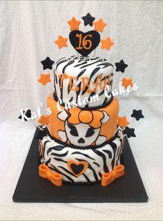 Orange skull zebra stripe cake