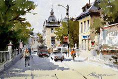 Watercolour-Acuarela-Corneliu-Dragan-Targoviste-peisaj-citadin-50
