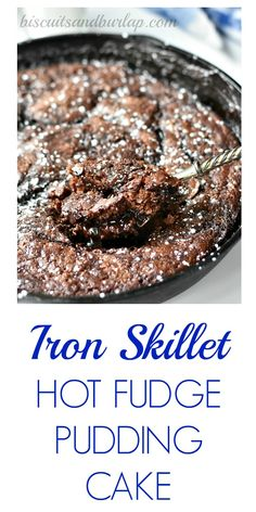 Iron Skillet Hot Fudge Pudding Cake uses ingredients already in your kitchen. From Biscuitsandburlap. Cast Iron Skillet Cooking, Iron Skillet Recipes, Cast Iron Recipes, Skillet Food, Skillet Brownie, Skillet Cake, Skillet Meals, Dutch Oven Cooking, Dutch Oven Recipes