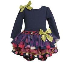 Bonnie Jean Baby Girls Navy Knit Mixed Skirt Fall Dress , Navy, 12 - 24 Months Bonnie Baby,