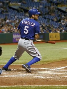 CrowdCam Hot Shot: Texas Rangers second baseman Ian Kinsler hits a RBI double during the fifth inning against the Tampa Bay Rays at Tropicana Field. Photo by Kim Klement